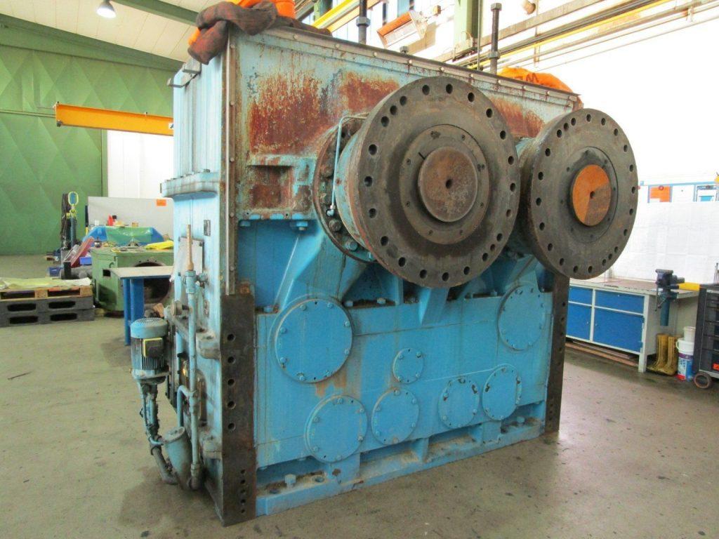 Instandsetzung / Reparatur eines Keller Getriebes aus einer Schnitzelpresse der Zuckerindustrie vor der Reparatur