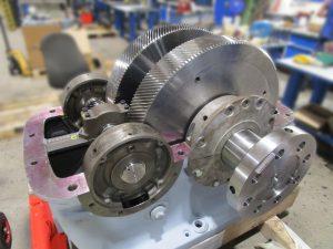 Instandsetzung eines BHS Voith AD50 Turbogetriebes, hier während der Revision im momac Getriebeinstandsetzungswerk