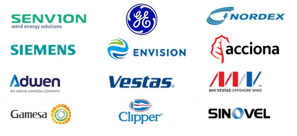 Übersicht der WEA Hersteller die MetalSCAN bei der online Getriebeüberwachung einsetzen