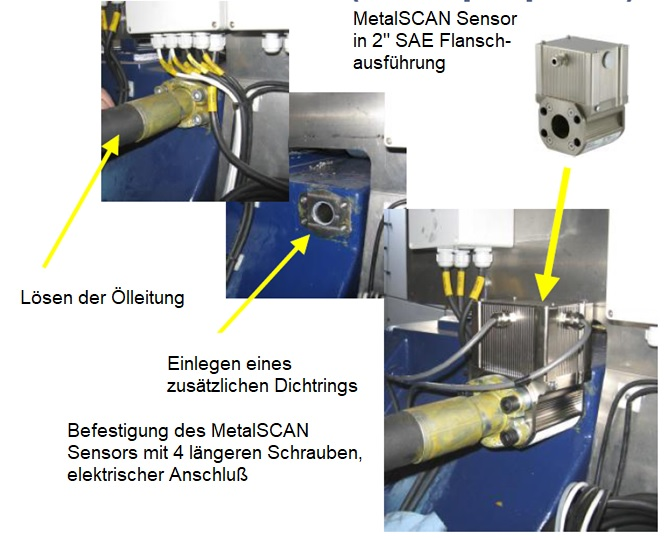 Einbau von MetalSCAN Sensoren zur Online Getriebeüberwachung